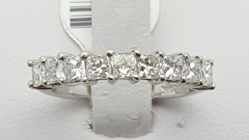 Lady's Gold-Diamond Anniversary Ring 9 Diamonds 1.08 Carat T.W. 14K White Gold