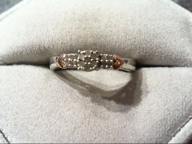 Lady's Silver-Diamond Ring 15 Diamonds .22 Carat T.W. 925 Silver 2.5g