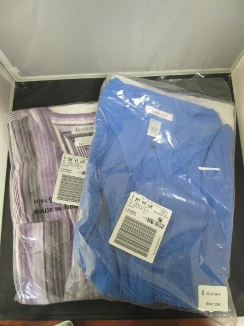 2 BRAND NEW ROAMAN'S PLUS SIZE SHORT SLEEVE SHIRTS SIZE 32W IN BLUE AND PURPLE S