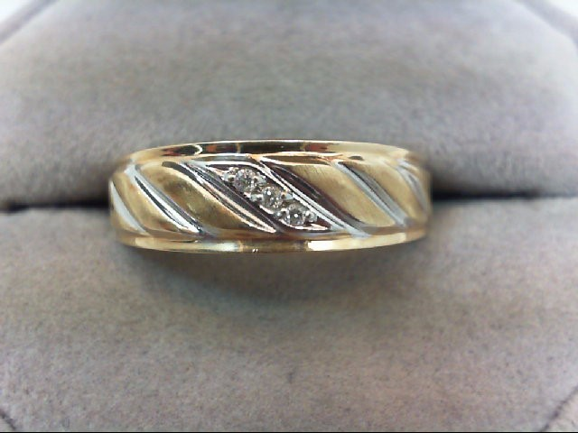 Gent's Gold-Diamond Wedding Band 3 Diamonds .03 Carat T.W. 10K 2 Tone Gold 3.7g