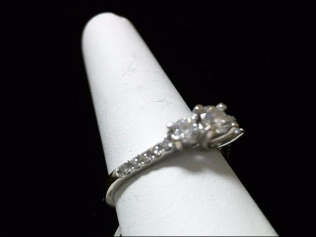 Lady's Diamond Engagement Ring 13 Diamonds .97 Carat T.W. 14K White Gold 3.6g