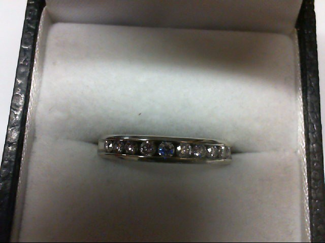 Lady's Diamond Wedding Band 10 Diamonds 0.5 Carat T.W. 14K White Gold 2.7g