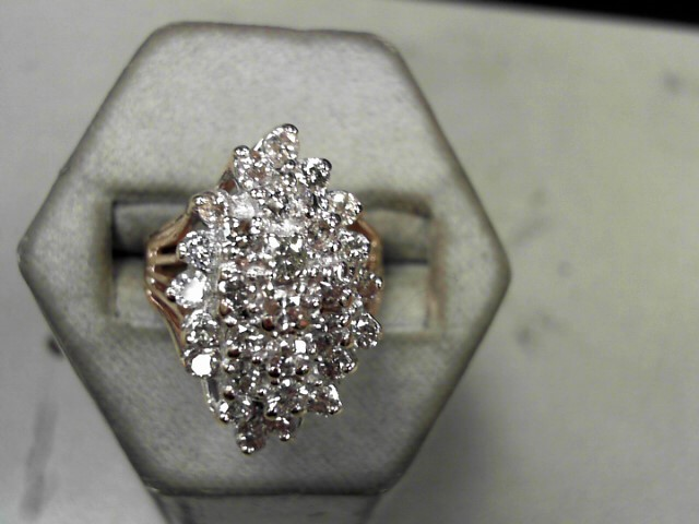 Lady's Diamond Cluster Ring 28 Diamonds 1.12 Carat T.W. 14K Yellow Gold 8.17g