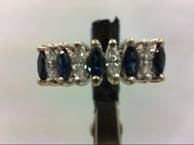 Sapphire Lady's Stone & Diamond Ring 4 Diamonds .40 Carat T.W. 14K White Gold