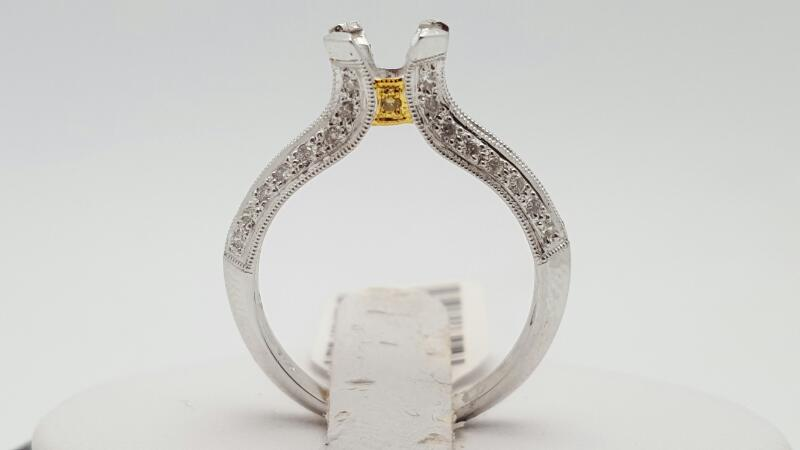 Lady's Diamond Engagement Ring 28 Diamonds .28 Carat T.W. 18K 2 Tone Gold 3.8g