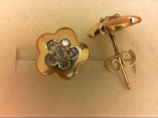 Gold-Diamond Earrings 12 Diamonds 0.12 Carat T.W. 10K Yellow Gold 1.7g