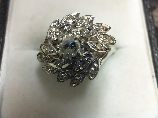 Lady's Diamond Cluster Ring 17 Diamonds 0.5 Carat T.W. 14K White Gold 5.3g