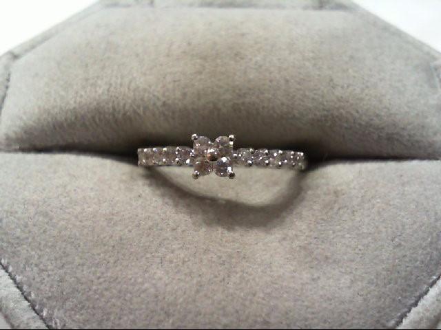 Lady's Diamond Engagement Ring 14 Diamonds .32 Carat T.W. 18K White Gold 1.9g