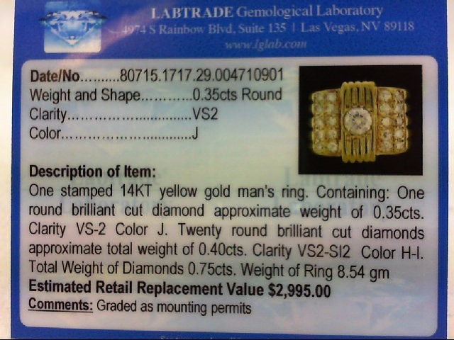 Gent's Diamond Cluster Ring 21 Diamonds .75 Carat T.W. 14K Yellow Gold 8.54g