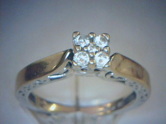 Lady's Diamond Cluster Ring 4 Diamonds .24 Carat T.W. 10K White Gold 2dwt
