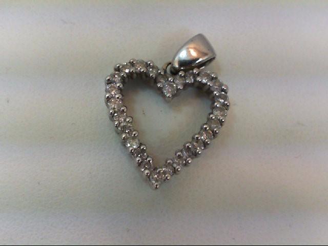 Gold-Multi-Diamond Pendant 18 Diamonds .54 Carat T.W. 14K White Gold 1.8g