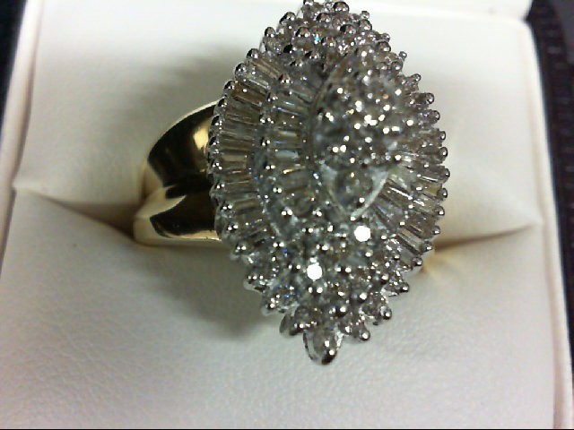Lady's Diamond Cluster Ring 77 Diamonds 0.77 Carat T.W. 10K Yellow Gold 7.7g