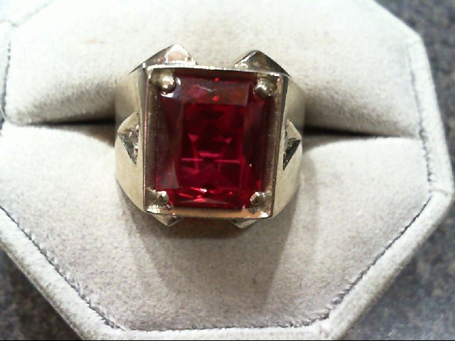 Red Stone Gent's Stone Ring 14K White Gold 9g