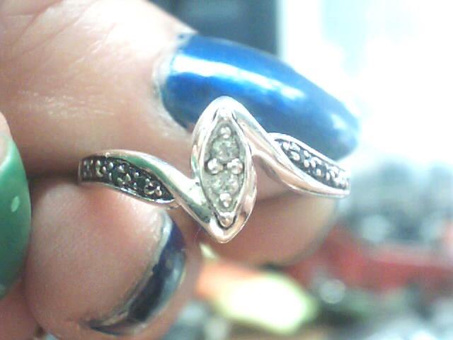 Lady's Silver-Diamond Ring 2 Diamonds .02 Carat T.W. 925 Silver 2dwt