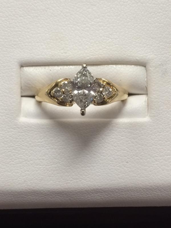 Lady's Diamond Fashion Ring 7 Diamonds .80 Carat T.W. 14K Yellow Gold 3dwt