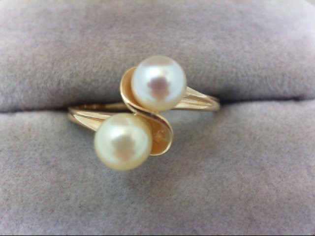 Pearl Lady's Stone Ring 14K Yellow Gold 2.4g