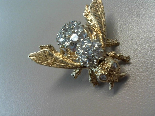 Gold-Diamond Brooch 21 Diamonds 4.20 Carat T.W. 14K Yellow Gold 6.4dwt