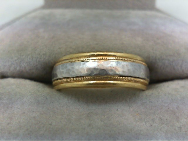 Lady's Gold Ring 18K 2 Tone Gold 7.8g Size:5