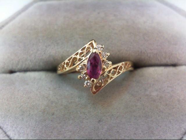 Ruby Lady's Stone & Diamond Ring 6 Diamonds .06 Carat T.W. 14K Yellow Gold 2.3g