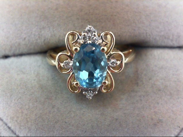 Blue Topaz Lady's Stone & Diamond Ring 8 Diamonds .08 Carat T.W.