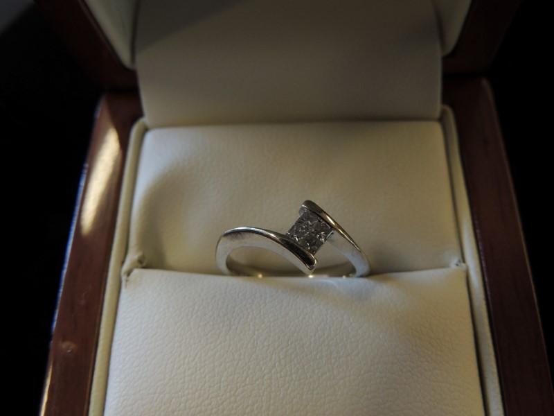 Lady's Diamond Cluster Ring 4 Diamonds .28 Carat T.W. 14K White Gold 2.7g