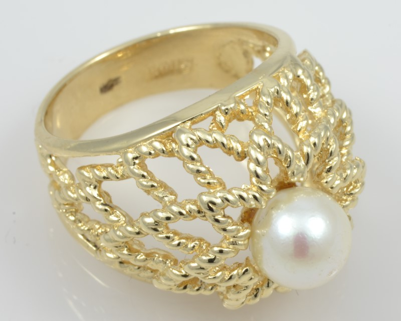 ESTATE PEARL SOLID 14K GOLD RING FILIGREE DECO COCKTAIL FINE SIZE 6