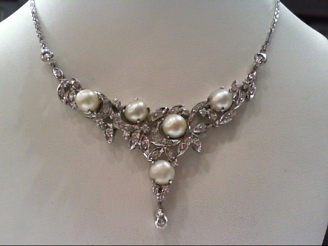 Pearl Silver-Diamond & Stone Pendant 52 Diamonds .57 Carat T.W. 925 Silver