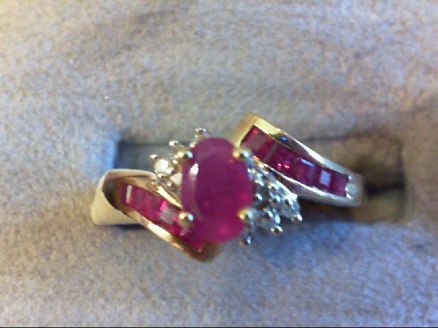 Ruby Lady's Stone & Diamond Ring 8 Diamonds .08 Carat T.W. 10K Yellow Gold 1.9g