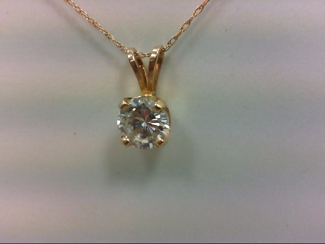 Gold-Diamond Solitaire Pendant .77 CT. 14K Yellow Gold 0.3g