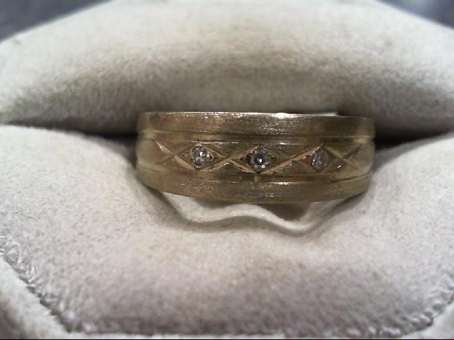 Gent's Gold-Diamond Wedding Band 3 Diamonds .03 Carat T.W. 14K White Gold 5.3g