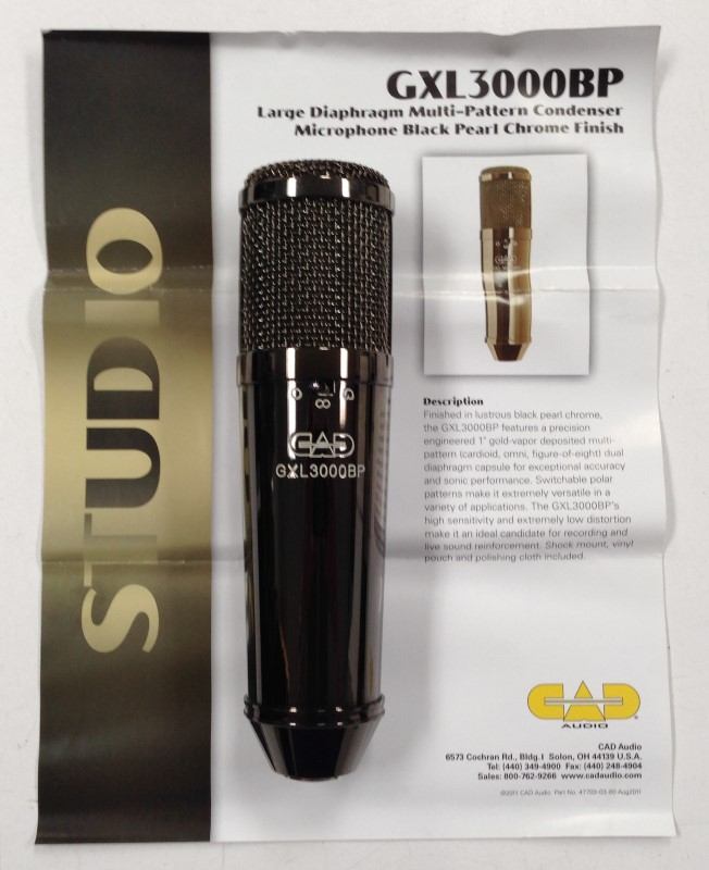 CAD GXL3000BP Multi-Pattern Condenser Microphone Black Pearl Chrome