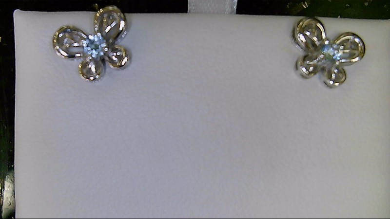 NEW SS BUTTERFLY MARCH BIRTHSTONE EARRINGS