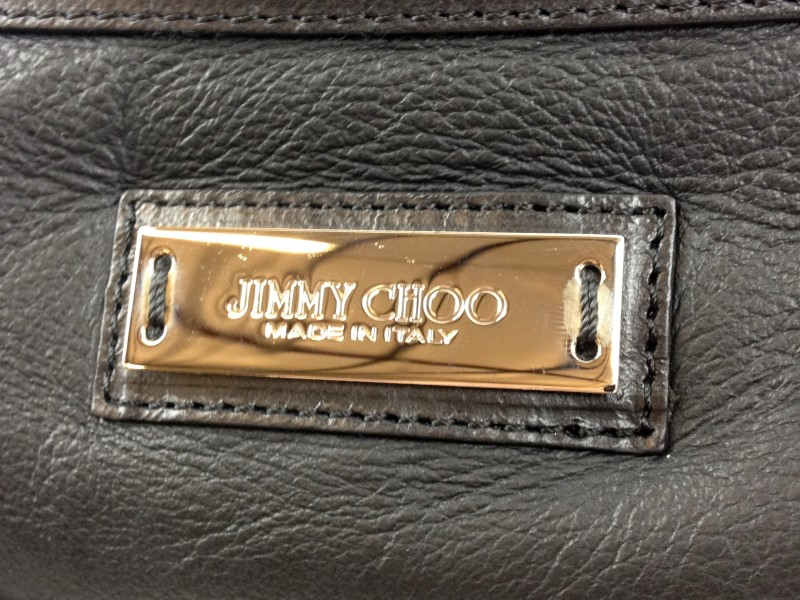 JIMMY CHOO BLACK LEATHER HEART CHARM BAG