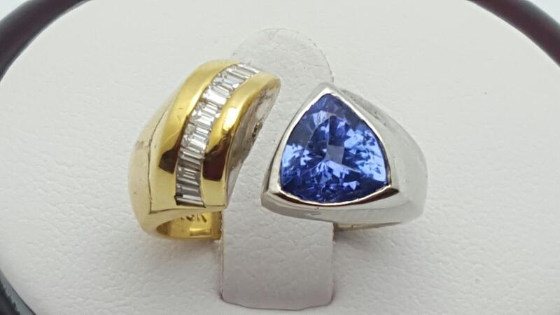 Lady's Tanzanite & Diamond Ring 9 Diamonds .36 Carat T.W. 18K 2 Tone Gold