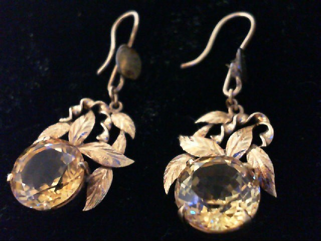 Citrine Gold-Stone Earrings 14K Yellow Gold 4.7g
