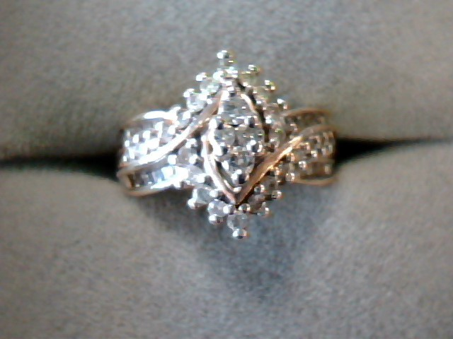 Lady's Diamond Cluster Ring 32 Diamonds .32 Carat T.W. 14K Yellow Gold 4.2dwt
