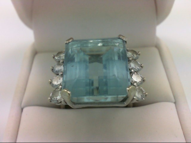 Aquamarine Lady's Stone & Diamond Ring 8 Diamonds 1.52 Carat T.W. 14K White Gold