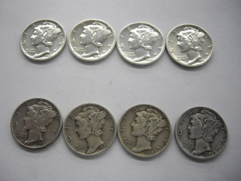 US BARBER DIME LOT 8PC