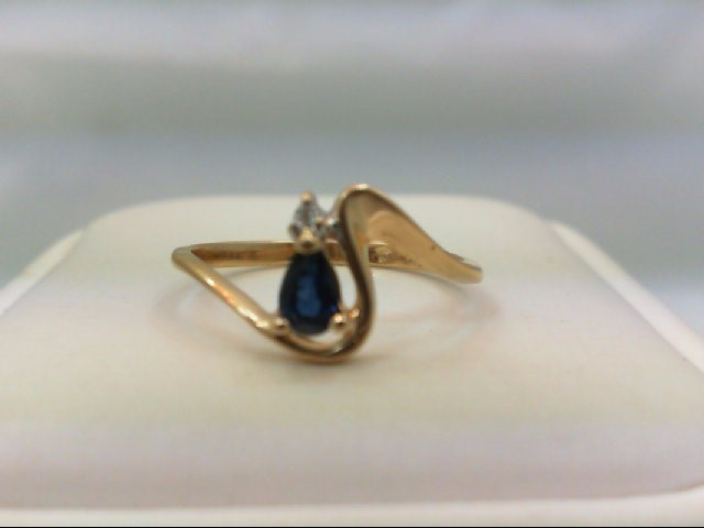 Sapphire Lady's Stone & Diamond Ring 0.02 CT. 14K Yellow Gold 1.6g