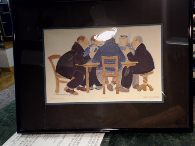 "RIE MUNOZ PRINT 53-750 1983 ""POKER GAME"" 14.5""X11"""