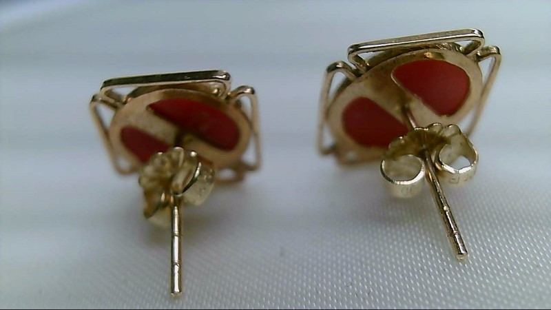 Coral Gold-Stone Earrings 14K Yellow Gold 2.6g