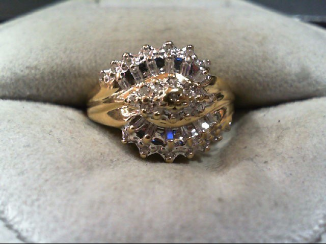 Lady's Diamond Cluster Ring 38 Diamonds .190 Carat T.W. 10K Yellow Gold 2.9g