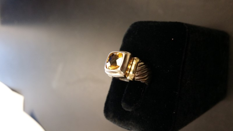 Synthetic Citrine Lady's Silver & Stone Ring 925 Silver 6.7g