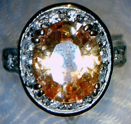Orange Stone Lady's Silver & Stone Ring Silver Plate 5dwt Size:6