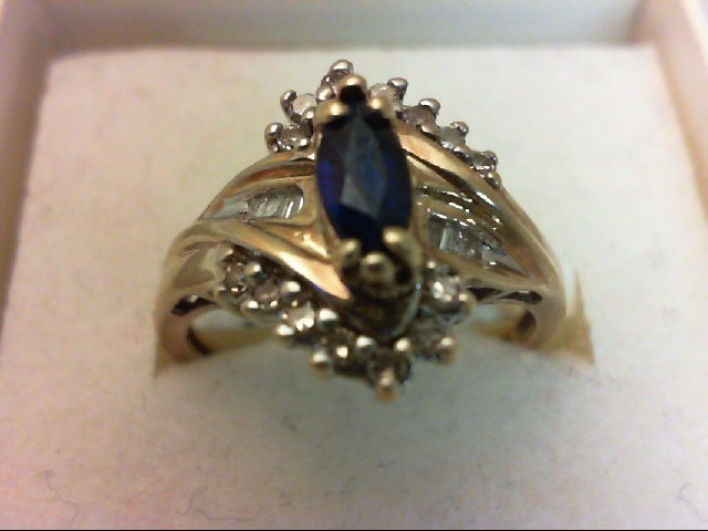 Sapphire Lady's Stone & Diamond Ring 20 Diamonds 0.2 Carat T.W. 10K Yellow Gold