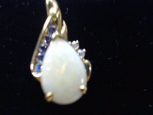 Synthetic Opal Gold-Diamond & Stone Pendant 2 Diamonds .02 Carat T.W.