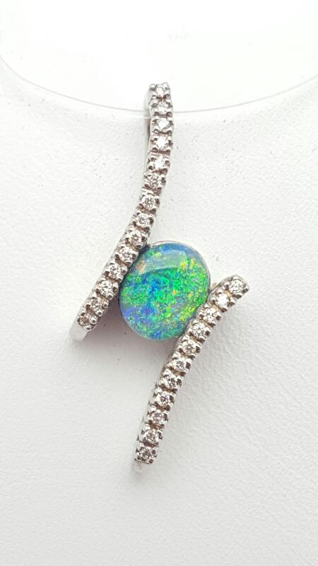 Gold Opal & Diamonds Pendant 25 Diamonds .18 Carat T.W. 14K White Gold 6.4g