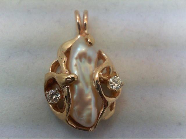Gold-Multi-Diamond Pendant 2 Diamonds .24 Carat T.W. 14K Yellow Gold 6g