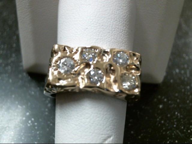 Gent's Diamond Fashion Ring 5 Diamonds .86 Carat T.W. 14K Yellow Gold 9.4g