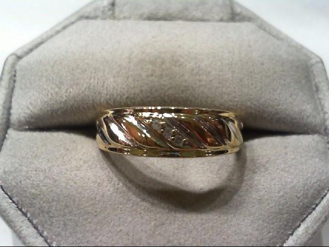 Gent's Gold-Diamond Wedding Band 3 Diamonds .03 Carat T.W. 10K Yellow Gold 3.4g